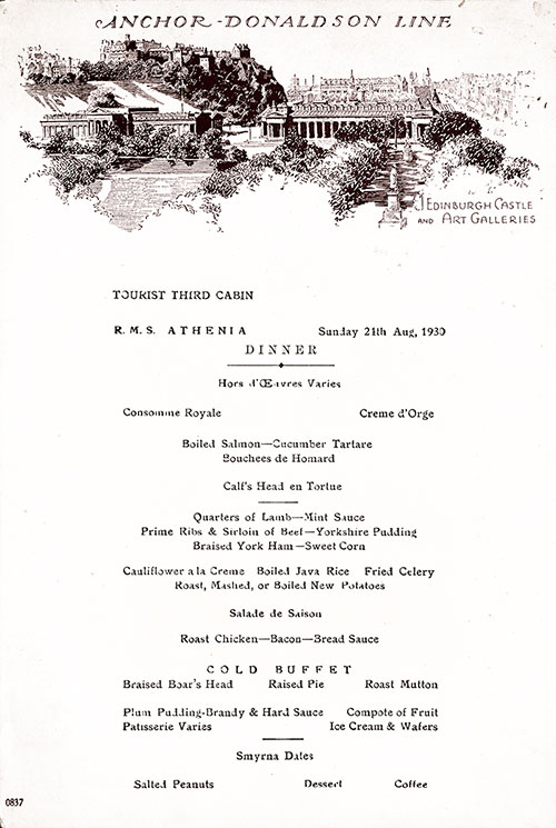 Front Cover, RMS Athenia Dinner Menu - 21 August 1930