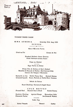 RMS Athenia Dinner Menu Card - 23 August 1930