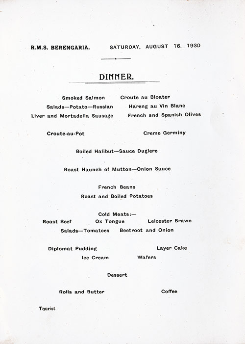 Menu Items, RMS Berengaria Dinner Menu - 16 August 1930