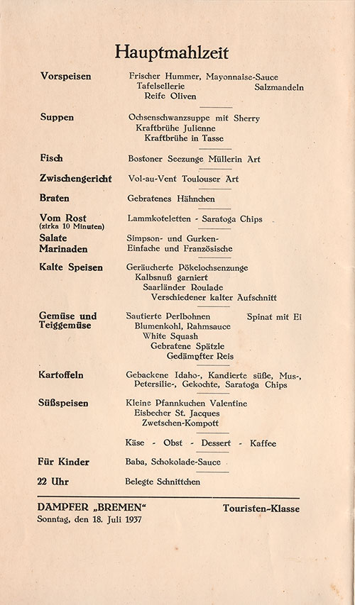 Menu Cover - Dinner Menu, SS Bremen, North German Lloyd, Tourist Class, July 1937