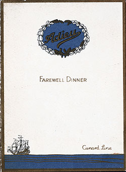 Front Cover, RMS Caronia Farewell Dinner Bill of Fare - 3 September 1927