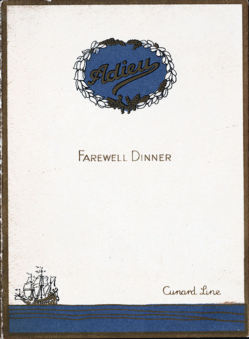 Front Cover, RMS Caronia Farewell Dinner Menu - 3 September 1927