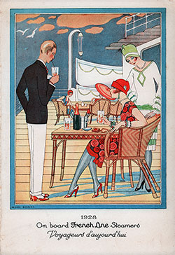 Front Cover, Dinner Menu, on the SS De Grasse of the CGT French Line, Friday, 17 June 1932.