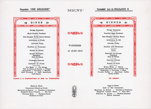 Menu Items, Dinner Menu, on the SS De Grasse of the CGT French Line, Friday, 17 June 1932.