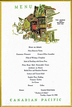 Farewell Dinner Menu, SS Dutchess of Athol, Canadian Pacific, 12 August 1930, Tourist Third Class