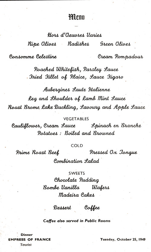 Menu Items, SS Empress of France Dinner Menu - 25 October 1949