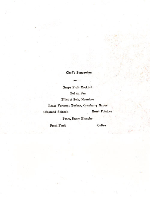 Chef's Suggestions, RMS Franconia Dinner Menu - 24 August 1938