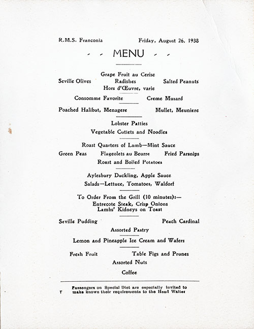 Menu Items, RMS Franconia Dinner Menu - 26 August 1938