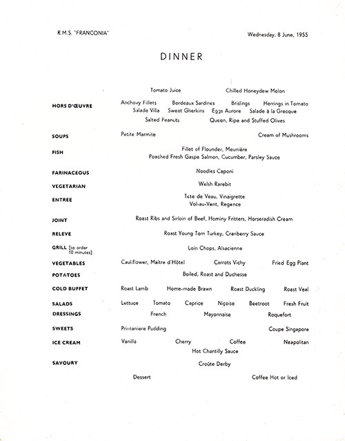 Menu Items, RMS Franconia Dinner Menu - 8 June 1955