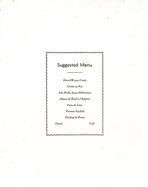 Chef's Suggestions, RMS Franconia Dinner Menu - 10 June 1955