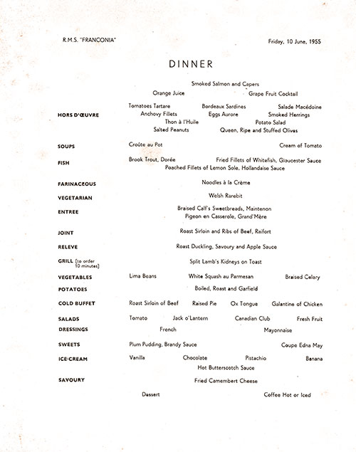 Menu Items, RMS Franconia Dinner Menu - 10 June 1955