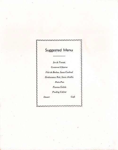 Chef's Suggestions, RMS Franconia Dinner Menu - 11 June 1955