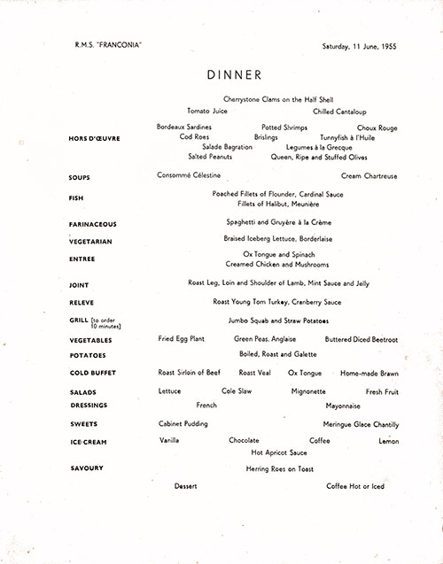 Menu Items, RMS Franconia Dinner Menu - 11 June 1955