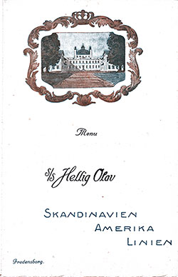 Front Cover, SS Hellig Olav Dinner Menu - 25 June 1923