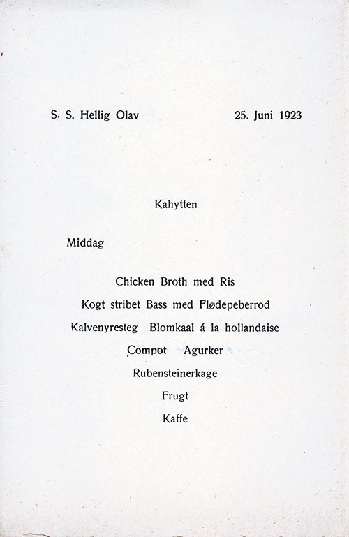 Menu in Danish, SS Hellig Olav Dinner Menu - 25 June 1923