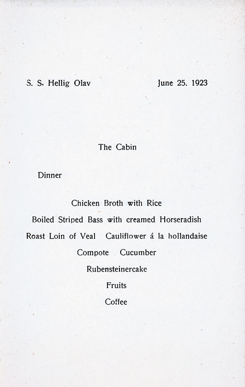 Menu Items, SS Hellig Olav Dinner Menu - 25 June 1923