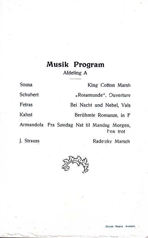 Music Program, SS Hellig Olav Dinner Menu - 25 June 1923
