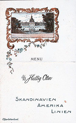 Menu Cover, SS Hellig Olav Dinner Menu - 10 May 1924
