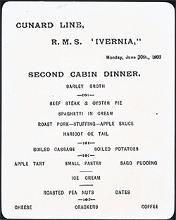 Menu Card - Dinner Menu, Cunard Line R.M.S. Ivernia 30 June 1902