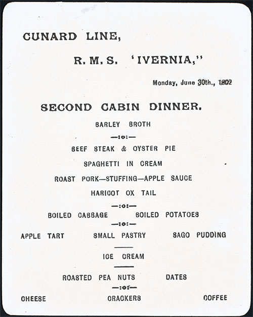 Menu Card - Dinner Menu, Cunard Line RMS Ivernia 30 June 1902