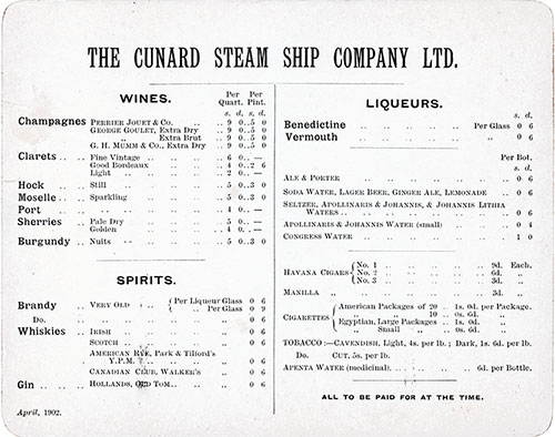 Wine, Spirits and Tobacco Selections from 1902