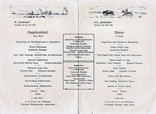 Menu Items, SS Karlsruhe Dinner Menu - 29 July 1928