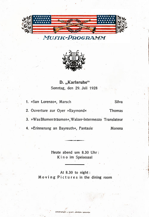 Music Program, SS Karlsruhe Dinner Menu - 29 July 1928
