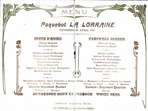 Beautiful Graphics Surround the Menu Selections Written in French and English in This Vintage Farewell Dinner Menu From 26 April 1907