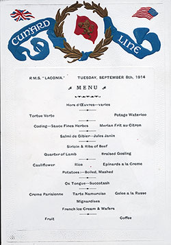 Menu Card - Dinner Bill of Fare RMS Laconia 8 September 1914
