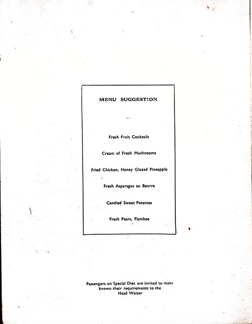 Chef's Suggestions, RMS Lancastria Dinner Menu - 7 May 1939