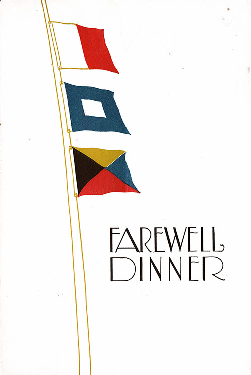 Front Cover, SS Leviathan Farewell Dinner Menu - 10 May 1928