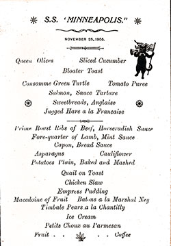 SS Minneapolis Dinner Menu Card - 25 November 1905