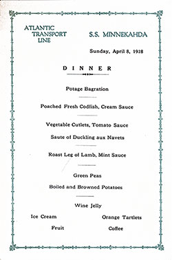 Menu Card for a Dinner Menu, Atlantic Transport Line SS Minnekahda - 1928