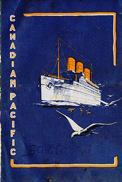 Front Cover, SS Montcalm Carnival Dinner Menu - 18 September 1933