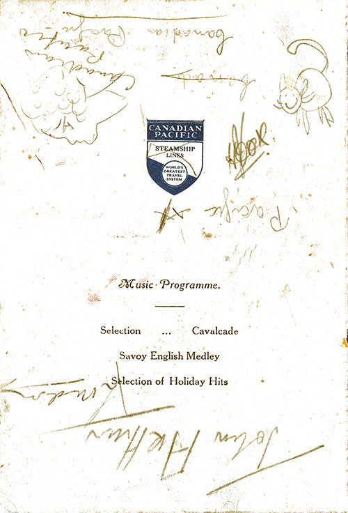 Back Cover - Music Program with Autographs