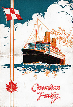 Front Cover, SS Montclare Farewell Dinner Menu - 10 September 1936