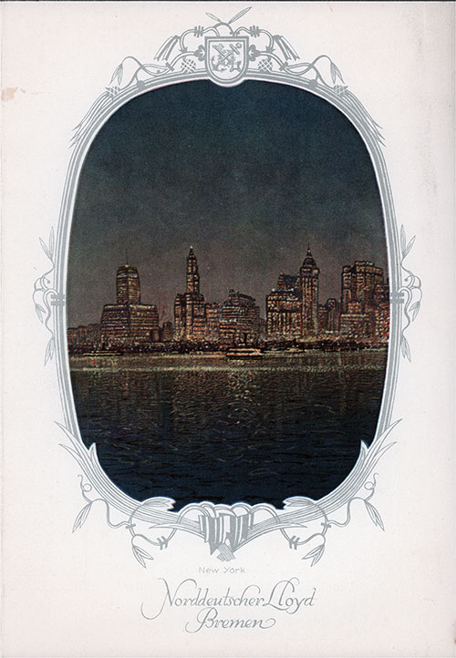 New York Skyline on the Front Cover, Dinner Menu, on the SS Stuttgart of the Norddeutscher Lloyd/North German Lloyd, Thursday, 12 June 1930.