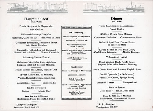 Dinner Menu Items on the SS Stuttgart of the Norddeutscher Lloyd/North German Lloyd, Thursday, 12 June 1930.