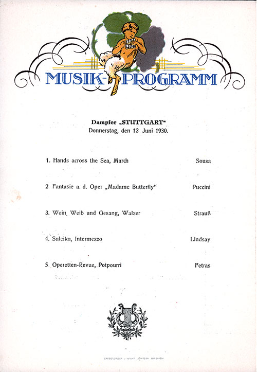Music Program on the Back Cover of the Dinner Menu, on the SS Stuttgart of the Norddeutscher Lloyd/North German Lloyd, Thursday, 12 June 1930.