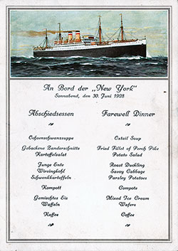 Front Cover, SS NewYork Farewell Dinner Bill of Fare Postcard - 30 June 1928