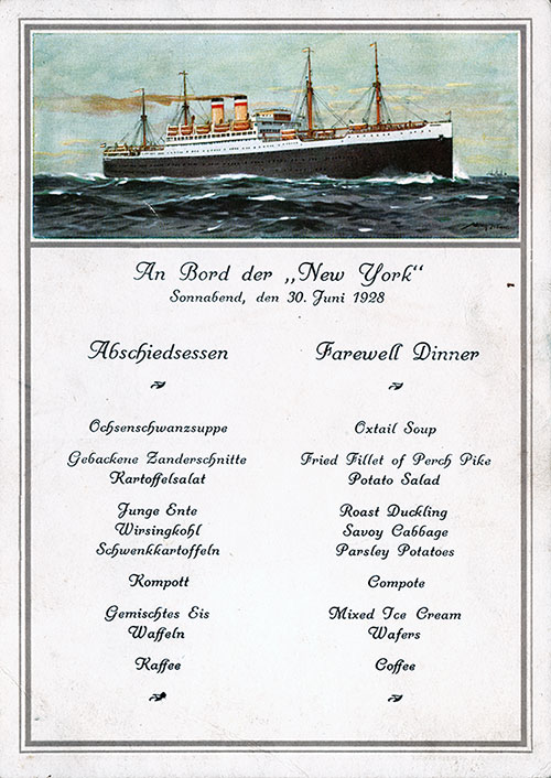 Front Cover, SS NewYork Farewell Dinner Menu Postcard - 30 June 1928