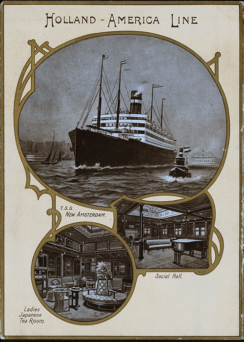 Back Cover, SS Noordam Dinner Menu - 20 June 1907