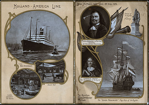 Menu Cover, Dinner Menu and Music Program, Holland America Line R.M.S. Noordam, 1907