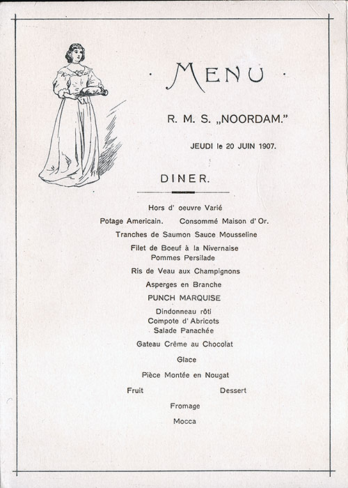 Menu Cover, Dinner Menu and Music Program, Holland America Line RMS Noordam, 1907