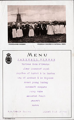 Front Cover - SS Oranje Nassau Farewell Dinner Menu - 22 August 1926