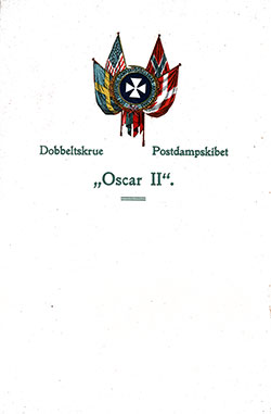 Front Cover, SS Oscar II Dinner Menu - 16 May 1912