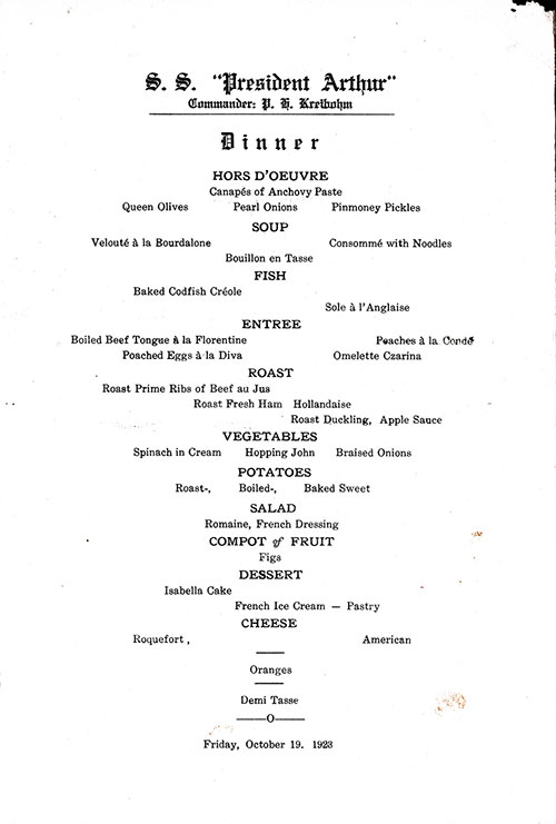 Menu Items, SS President Arthur Dinner Menu - 19 October 1923