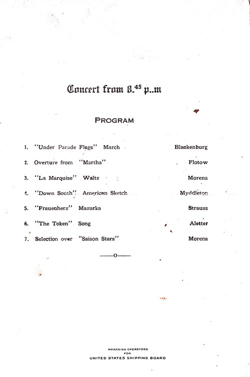 Concert Program, SS President Arthur Dinner Menu - 19 October 1923