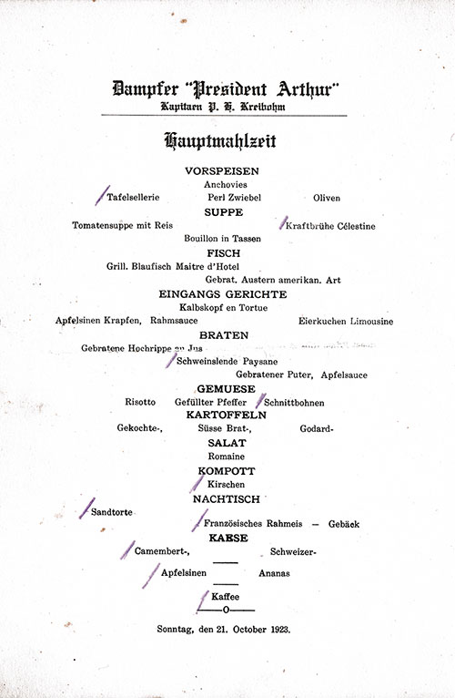 Menu in German, SS President Arthur Dinner Menu - 21 October 1923