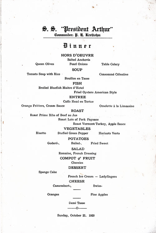 Menu Items, SS President Arthur Dinner Menu - 21 October 1923